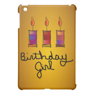 Birthday Girl With 3 Multi-Colour Candles iPad Mini Case