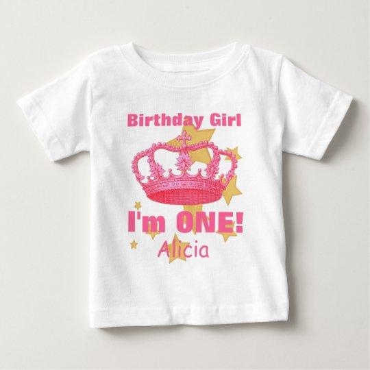 Birthday Girl with Crown I'm ONE! Custom Name