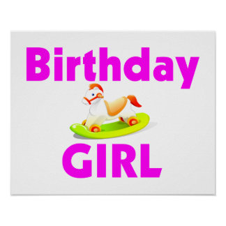 Birthday Girl With Rocking Horse Poster