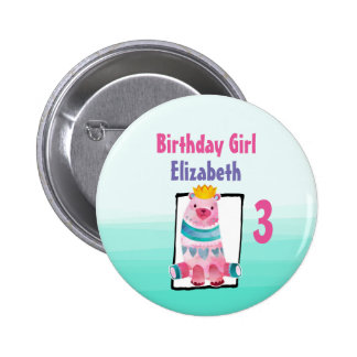 Birthday Girl with Watercolor Bear Wearing a Crown 6 Cm Round Badge