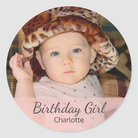 Birthday Girl with Your Photo Classic Round Sticker