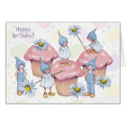 Birthday, Gnomes and Cupcakes, Pink Icing, Kids Card