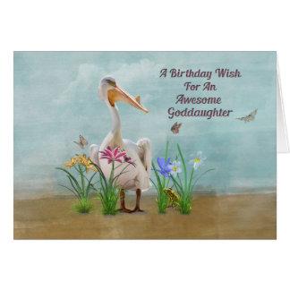 Birthday, Goddaughter, Pelican, Flowers Card