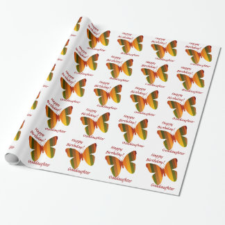 Birthday, Goddaughter, stripe butterflies. Gift Wrapping Paper