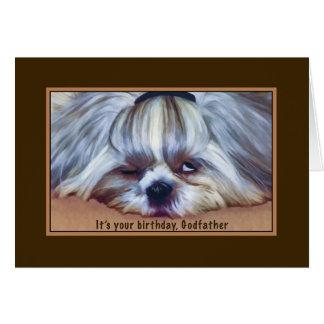 Birthday, Godfather, Sleepy Shih Tzu Dog Greeting Card
