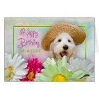 BIRTHDAY - GODMOTHER - PUPPY/FLOWERS/SUNHAT CARD