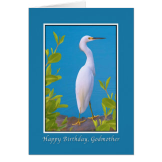 Birthday, Godmother, Snowy Egret Card