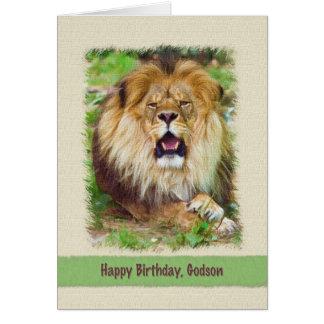 Birthday, Godson, Lion Card