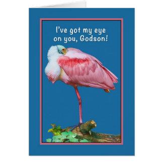 Birthday, Godson,  Peekaboo Spoonbill Card