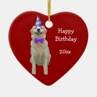 Birthday Golden Retriever Keepsake Ornament