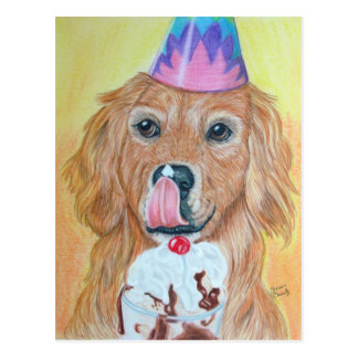 Birthday Golden Retriever Postcard