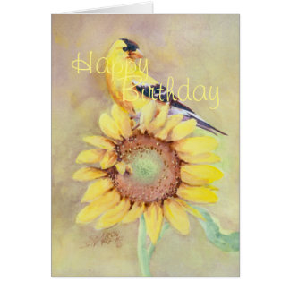 BIRTHDAY GOLDFINCH AND SUNFLOWER  by SHARON SHARPE Card