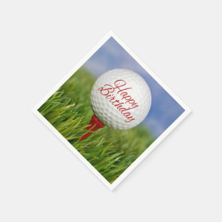 birthday golf ball on red tee disposable napkin