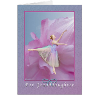 Birthday,  Granddaughter, Ballerina on Pink and Bl Card