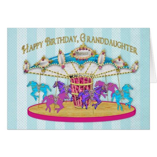 Birthday - Granddaughter - Carousel - Card