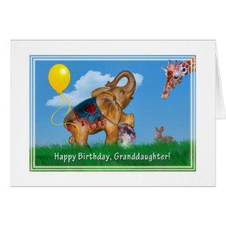 Birthday, Granddaughter, Elephant, Giraffe Card