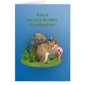 Birthday, Granddaughter, Squirrel, Ice Cream Cone Card