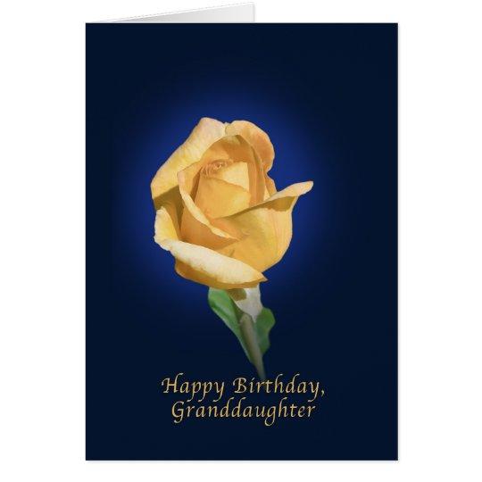 Birthday, Granddaughter, Yellow Rose Bud Card