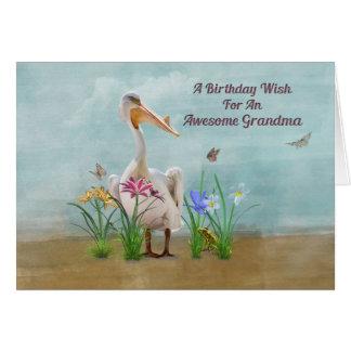 Birthday, Grandma, Pelican, Flowers Card