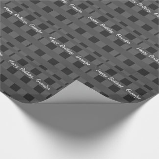 Birthday, grandpa, black & silver plaid gift wrap. wrapping paper