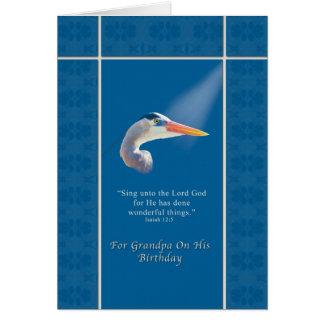 Birthday,  Grandpa, Religious, Great Blue Heron Greeting Card