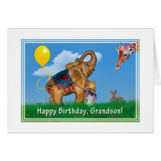Birthday, Grandson, Elephant, Giraffe Card