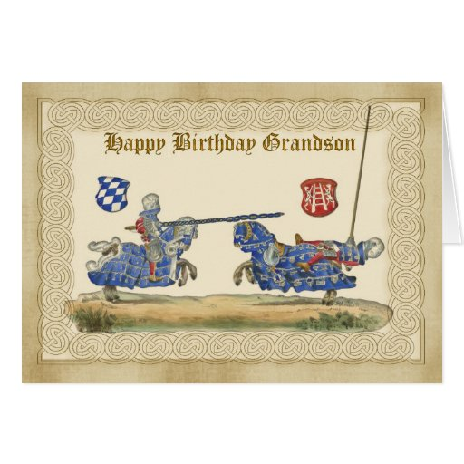 Birthday Grandson, knights Jousting, Horses full B Greeting Cards