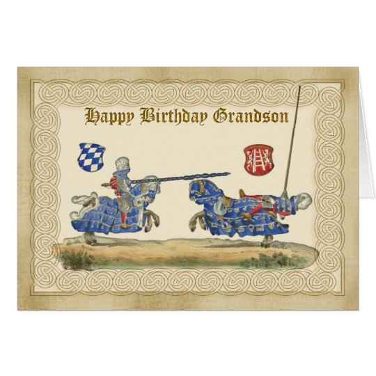 Birthday Grandson, knights Jousting, Horses full B Card
