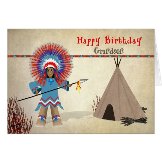 Birthday - Grandson - Native Indian Fun Card