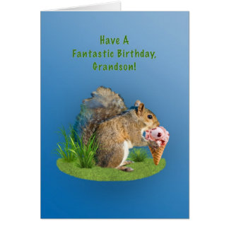 Birthday, Grandson, Squirrel With Ice Cream Cone Greeting Card