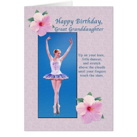 Birthday, Great Granddaughter, Ballerina Card