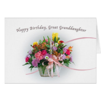 Birthday, Great Granddaughter, Flowers in a Basket Card