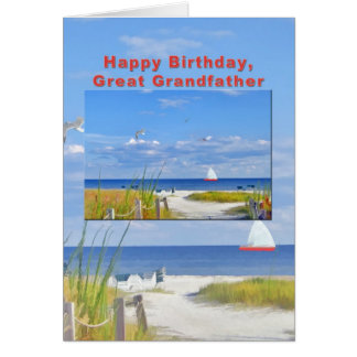 Birthday, Great Grandfather, Beach and Ocean View Greeting Card