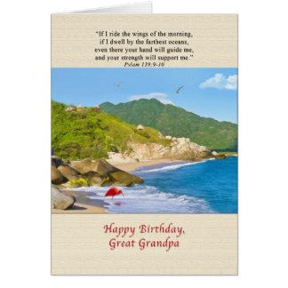 Birthday, Great Grandpa, Beach, Hills, Birds Greeting Card