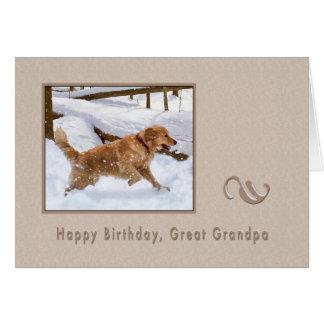 Birthday, Great Grandpa, Golden Retriever Dog  Car Greeting Card