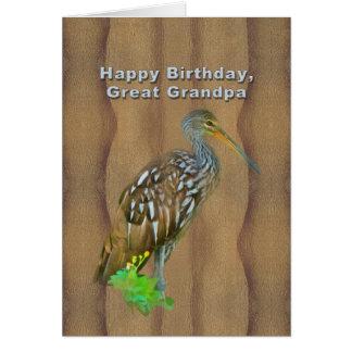 Birthday, Great Grandpa, Limpkin Marsh Bird Greeting Card