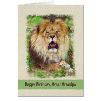 Birthday, Great Grandpa, Lion Greeting Card