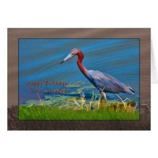 Birthday, Great Grandpa,  Little Blue Heron Bird Greeting Card