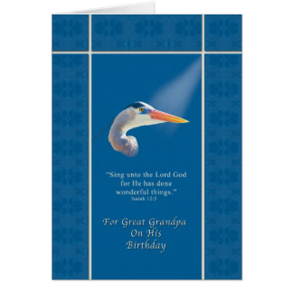 Birthday,  Great Grandpa, Religious,  Blue Heron Greeting Card