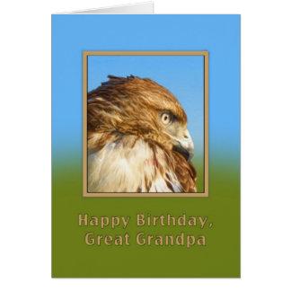 Birthday, Great Grandpa, Rough-legged Hawk Greeting Card