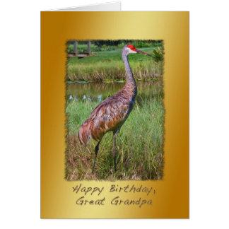 Birthday, Great Grandpa, Sandhill Crane Bird Greeting Card