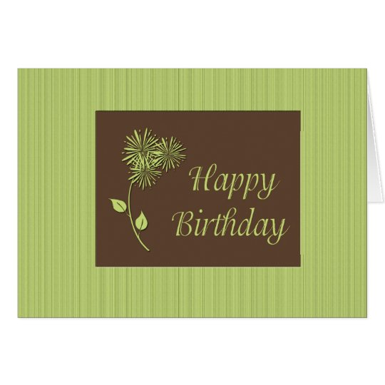 Birthday Green Brown Floral Card