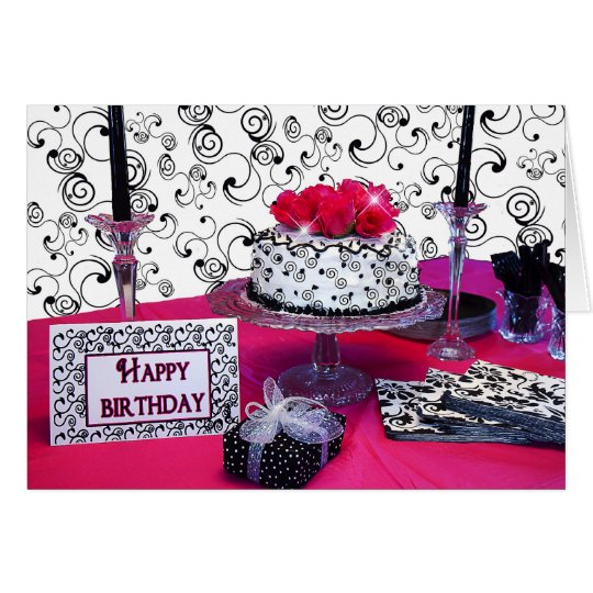 Birthday Greeting - Cake w/Fuchsia Flowers/Black Card