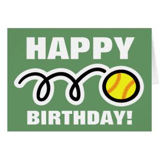 Birthday greeting card with yellow softball design