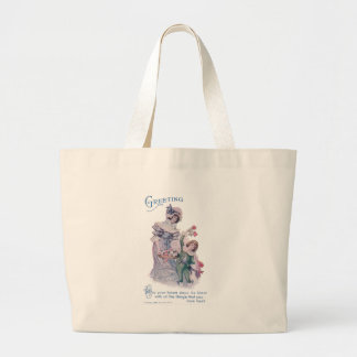 Birthday Greeting from Woman & Boy Jumbo Tote Bag