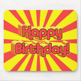 Birthday Greeting Retro style Mouse Pads