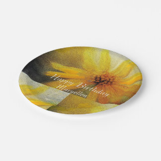 Birthday Greeting Yellow Sunflower Paper Plate