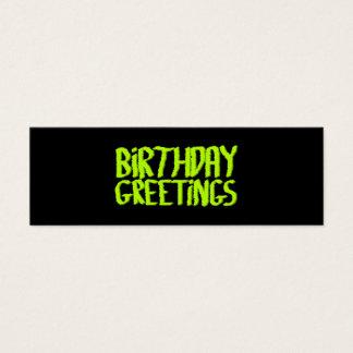 Birthday Greetings. Green and Black. Custom Mini Business Card