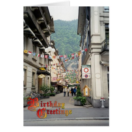 Birthday Greetings - Interlaken, shopping centre Greeting Cards