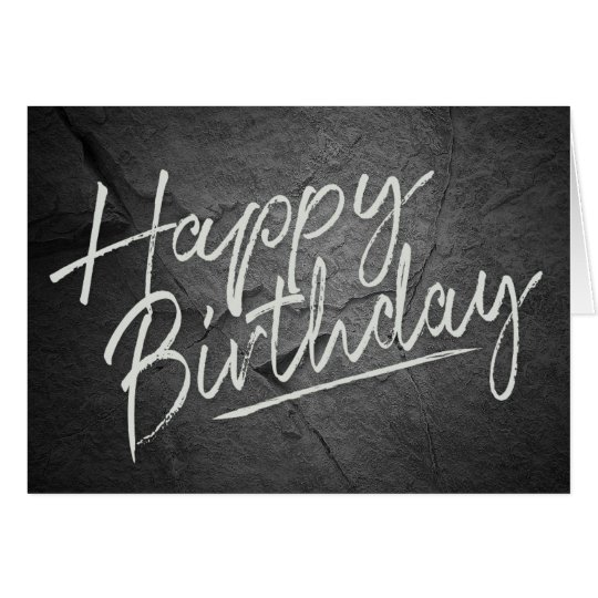 birthday greetings on black rock texture card
